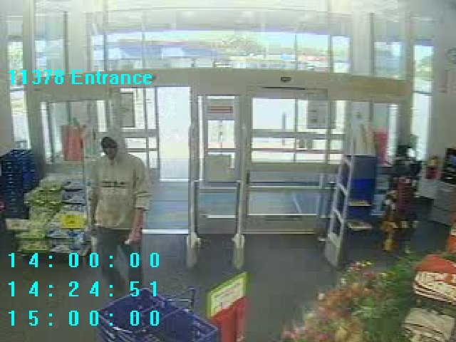 Video footage of the suspect in Tuesday's robbery.