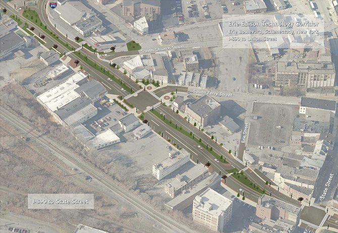 An artist's rendering of the completed Erie Boulevard Reconstruction Project in downtown Schenectady. This is one of two renderings available on the project's new website, FixErieNow.com.