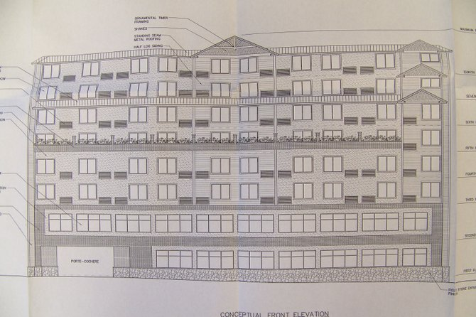 Area developer Dave Kenny has proposed constructing an eight-story 114-room hotel in Lake George Village on Canada St. on the plot that now hosts Giuseppe's Restaurant. This conceptual drawing of the hotel, prepared by Rucinski Hall Architecture of Saratoga Springs, shows about 20 guest rooms — mostly suites —on the upper stories, and two banquet rooms, a lobby and kitchen on the first floor.
