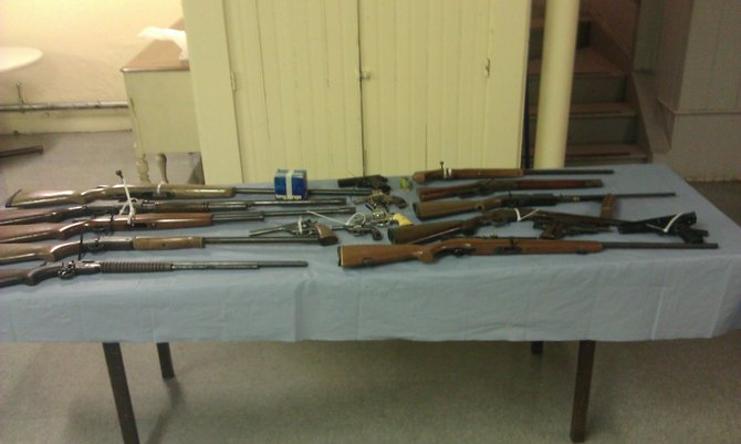 Guns collected during the Schenectady County Sheriff's Office second Gun Buy Back Program.