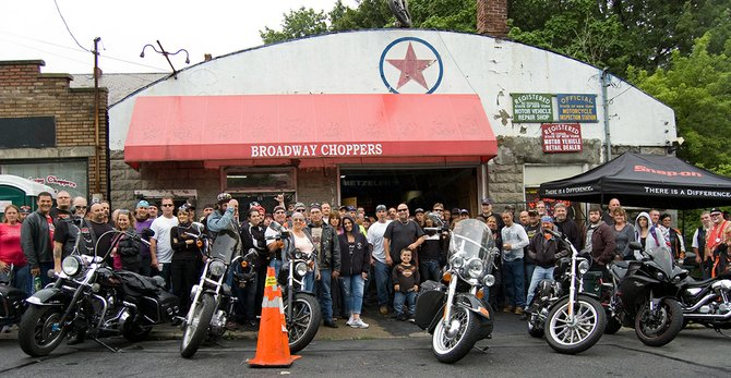"There was a large turnout for the inaugural Little People of America ""Ride with Pride"" motorcycle rally on Sunday, July 29, which kicked off at Broadway Choppers in Schenectady."