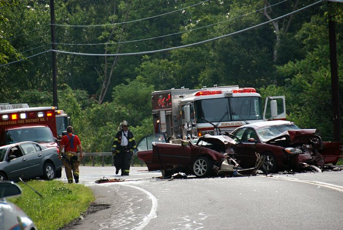 The scene after a two-car fatal crash on Aqueduct Road in Niskayuna on Saturday, Aug. 4, which claimed the life of a Schuylerville teen.