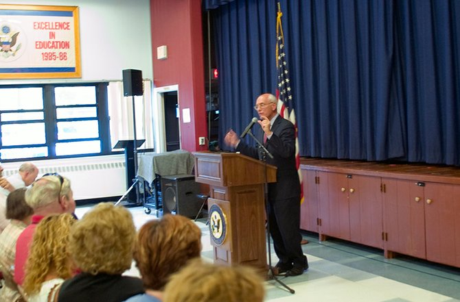 Rep. Paul Tonko addresses local residents at his Town Hall Meeting on Monday, Aug. 6, at Lincoln Elementary School in Scotia.