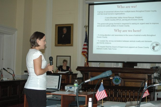 Jessica Hartley talks about animal cruelty issues at the Aug. 6 Essex County Board of Supervisors meeting.