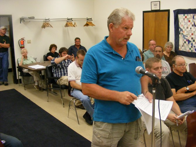 Rich Larkin was one of a half-dozen or so Warrensburg citizens who aired criticisms Aug. 8 at a town meeting about a proposed local property maintenance law town officials are considering. A follow-up workshop on the law is set for 4 p.m. Sept. 5.