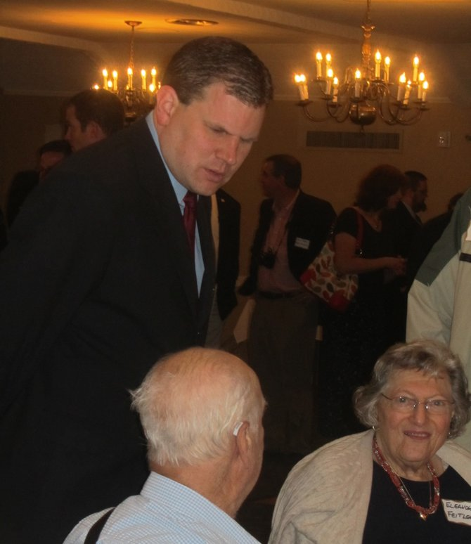 Former Congressman Dan Maffei speaks to residents at a political breakfast held Tuesday at the Cavalry Club in Manlius. 