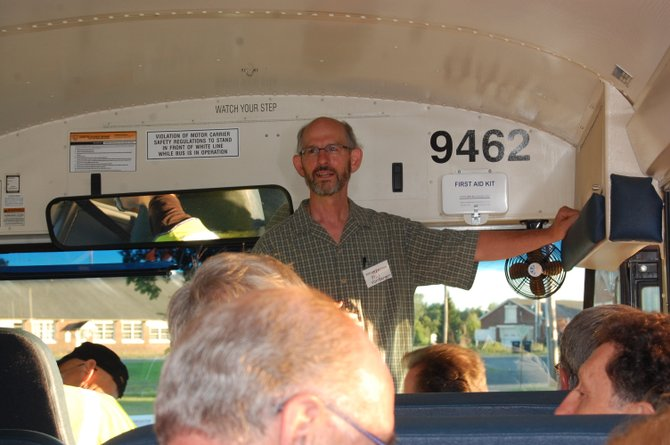 Phil VonBargen leads a tour at the end of the Vision2Action transportation forum.