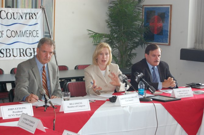 Congressman Bill Owens and U.S. Senator Kirsten Gillibrand at a roundtable discussion at Plattsburgh State.