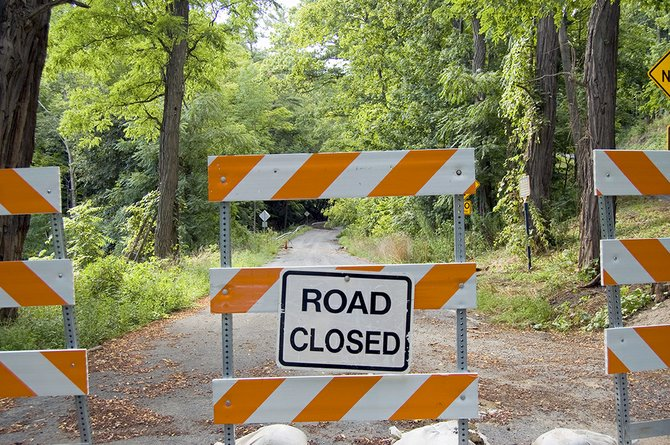 Wolf Hollow Road was closed of at the bottom of Hoffman's Hill in Glenville after Tropical Storm Irene.