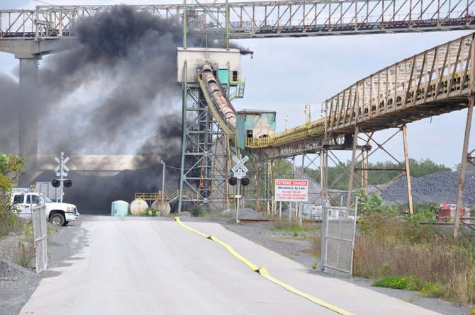 Firefighters were at the Lafarge Cement Plant in Ravena for about 90 minutes fighting a fire on Monday, Aug. 27. Photo courtesy Coeymans Police Department.