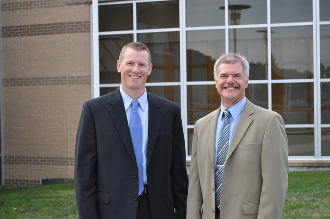 Stephen Dunham, left, the new principal of West Genesee Middle School, poses with Brent Suddaby, the new principal for grades three through five at Stonehedge Elementary School.