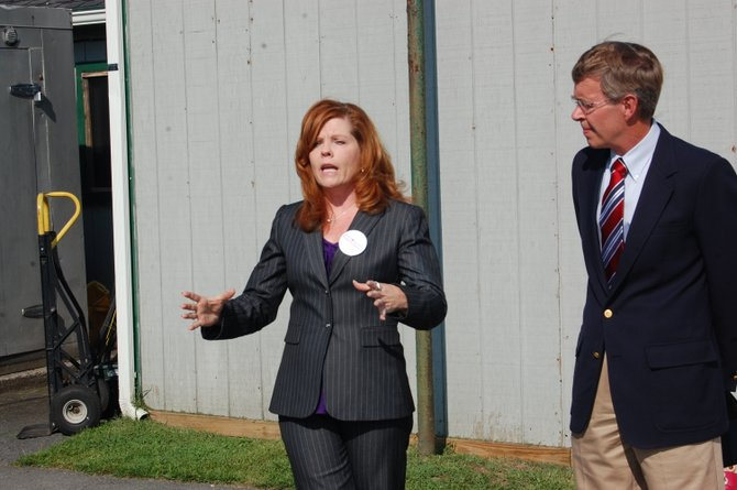 Assembly hopeful Karen Bisso and Doug Hoffman at a press conference Bisso recently held in Plattsburgh.