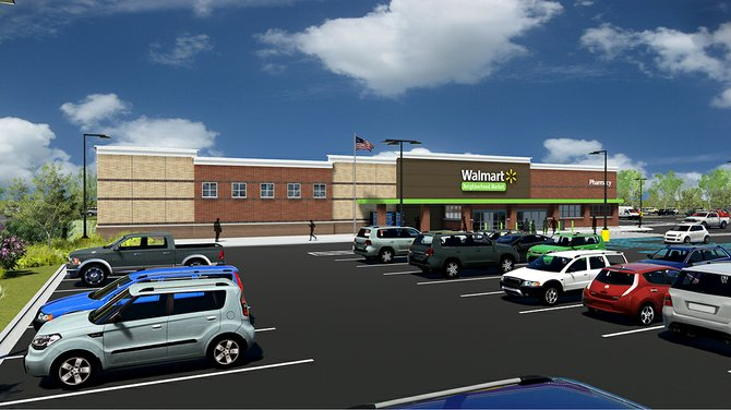 An artists rendering of a Wal-Mart Neighborhood Market to be built at Mansion Square in Niskayuna. The store is planned to open by mid 2013.