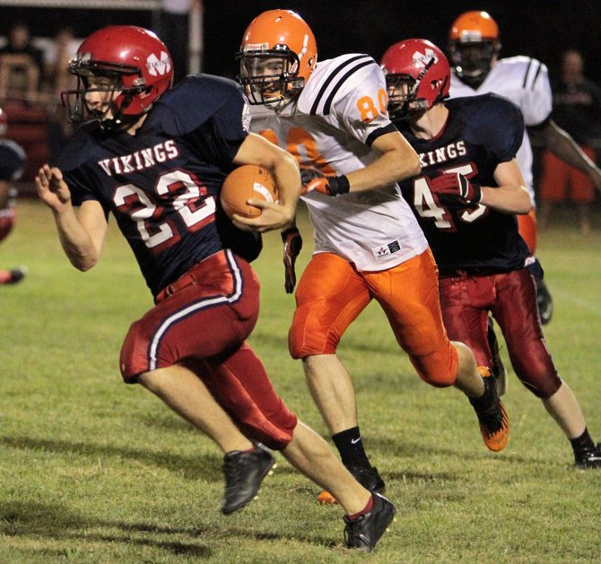Arto Nadeau ran for 57 yards and scored a touchdown in Moriah's 39-0 victory against Plattsburgh in Champlain Valley Athletic Conference football play Aug. 31.