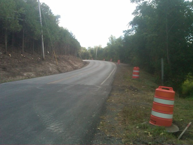 A portion of East Lake Road is currently without a guide rail, as Madison County Highway Department crews prepare to replace it. The old guide rail was removed due to erosion and trees were cut down due to safety issues that were increased in wintry conditions.