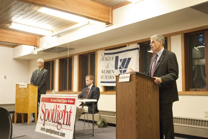 Bethlehem Democratic primary candidates squared off at a forum on Sept. 4 sponsored by the League of Women Voters and Spotlight Newspapers. John Cunningham and Bill Reinhardt answered questions on a variety of topics related to the town and politics.