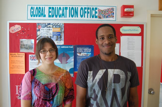 Christine Pawlowicz and Dimitri Turner at Plattsburgh State's Global Education Office.