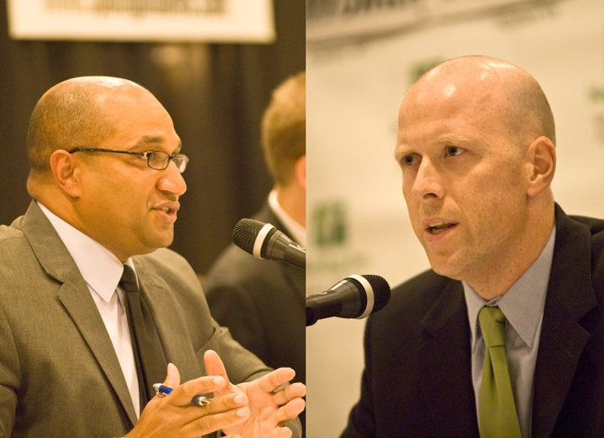 Albany County District Attorney David Soares, left and his Democratic primary challenger, Lee Kindlon, traded barbs about the past, present and future of the county in a Wednesday, Sept. 5, debate.