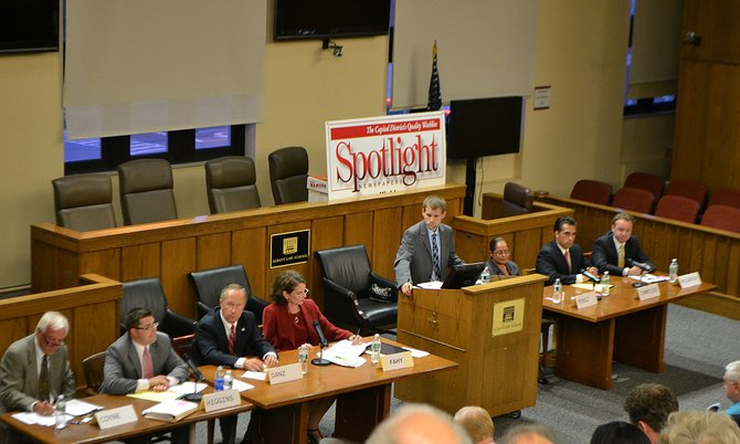 A crowded field of Democratic candidates for the 109th Assembly District attended a forum hosted by the League of Women Voters and Spotlight Newspaper. Also in attendance was Republican Ted Danz who is fighting to gain the Independent line against Democrat Patricia Fahy.