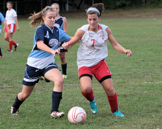 Abi Veverka scored twice to lead Schroon Lake past Westport, 3-2, in Northern Soccer League girls play Sept. 6.