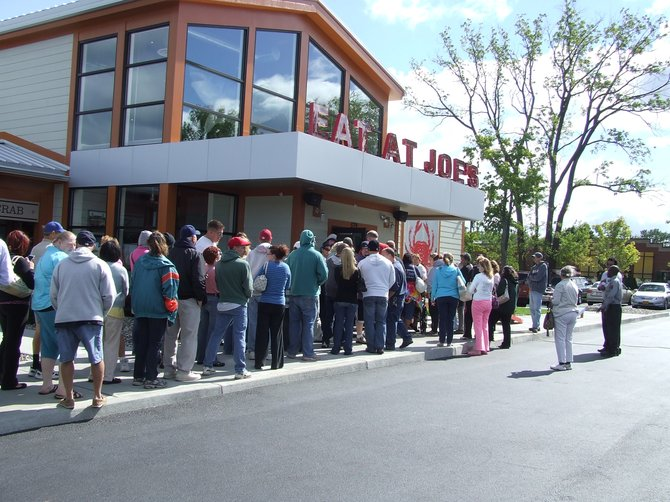 Seafood fans eagerly flocked to the grand opening of Joe's Crab Shack in Latham on Monday, Sept. 10.
