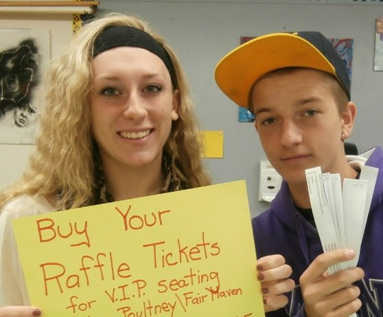 PHS students help sell raffle tickets for a trip to Spain.