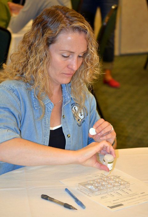 Colleen Ryan tests water quality as part of the Keystone Centers Key Issues: Bringing Environmental Issues to the Classroom program.