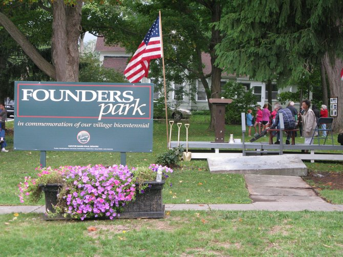 Founders Park, located on the corner of Pleasant and Moulter streets, was dedicated Saturday.