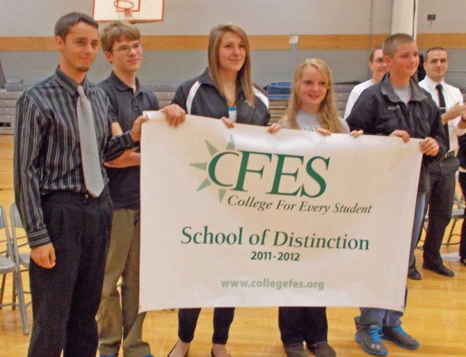 Accepting the CFES School of Distinction award are, from left, Drew Malone, Sam LaPointe, Amanda Wolf, Taylor Booth and Jake Mildon. They are members of the student CFES leadership team.