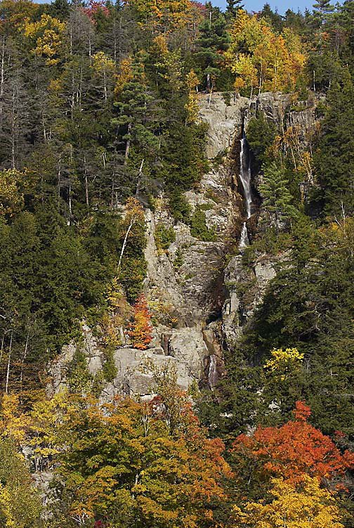 A view of previous fall foliage along a hike to Roaring Brook Falls, Keene Valley in the Adirondacks.