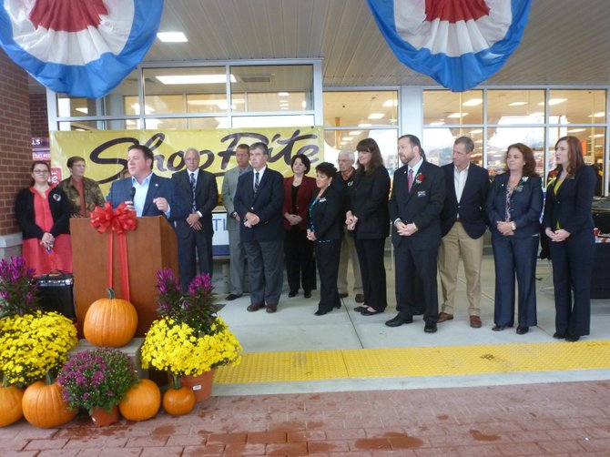 Albany County Executive Dan McCoy speaks at the Sept. 30 opening of the Slingerlands ShopRite grocery store along with ShopRite and Town of Bethlehem officials.