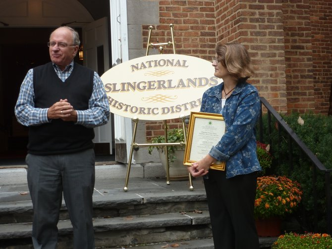 Former Bethlehem Town Supervisor Sam Messina commends Town Historian Susan Leath and the residents of Slingerlands on their work to bring the Slingerlands Historic District into fruition.