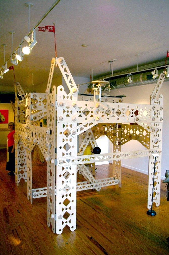 "Peter Leue's large-scale Erector Set at the Marion Royael Gallery in Beacon. Leue broke the piece down just days before the MoHu Fest to turn it into ""Crossroads of the Imagination."""