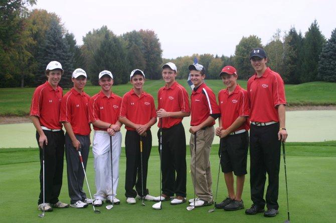 The Baldwinsville boys golf team that competed at Wednesday's Section III Class AA tournament at Arrowhead. From left: Matt Monaco, Tim Rothenhoefer, Paul Pitcher, Christian Nizamis, Sean Barron, Truman Strodel, James Pelcher, Josh Pinard.
