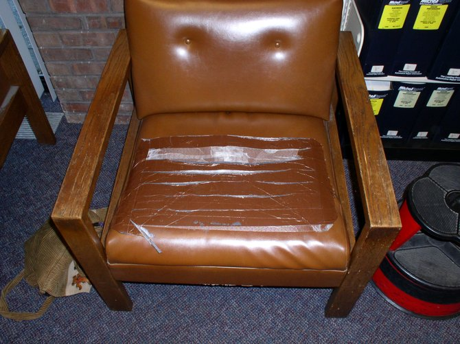 The more than 30-year-old chairs at the William K. Sanford Library are in need of reupholstering.