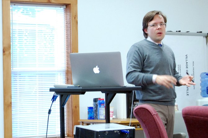 Tim Weidemann of Rondout Consulting led the recent Keeseville dissolution study committee meeting