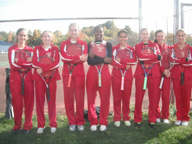 Baldwinsville girls tennis players that participated in the Section III Division I singles and doubles tournaments at Syracuse University and Liverpool. From left: Maddie Fiello, Katherine Schumacher, Natalie Kot, Amari Pollard, Taylor Ferrari, Kahlei Reisinger, Maddie Quilter, Hannah Mautz. Kot and Pollard combined to win the doubles championship.