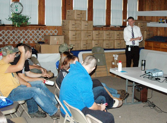 Jeff Sisson speaks to students during the Prevention Team relationship forum at the Essex County fairgrounds.