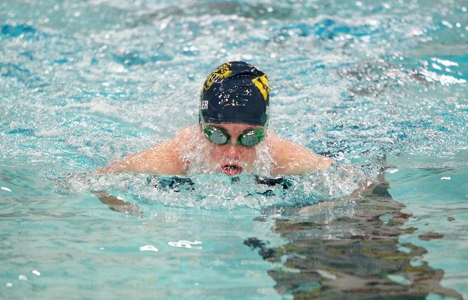 West Genesee girls swimmer Erin Dowler swims the breaststroke leg of the 200 medley relay in Wednesday night's meet against West Genesee. The Wildcats would go on to beat the Bees 95-83 for its 23rd straight meet win and the outright CNY Counties League regular-season championship.
