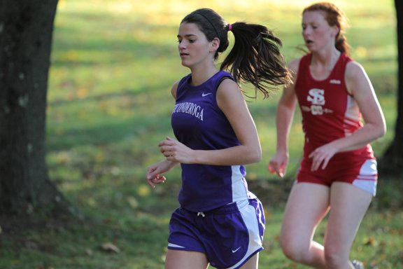 Becky Barber raced to 10th place for Ticonderoga as the Sentinels beat Lake Placid, 15-50, and lost to Saranac Lake, 20-32, in Champlain Valley Athletic Conference cross country action Oct. 16.