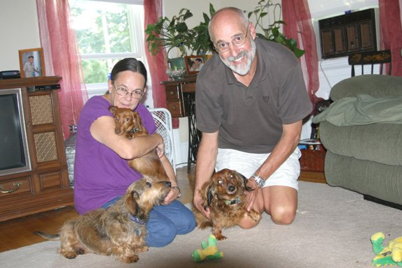 Rev. David and Kathy Hirtle are part of All American Dachshund Rescue, a group that takes in abused and abandoned dachshunds before finding them homes. The have two dogs of their own as well as a foster dog.