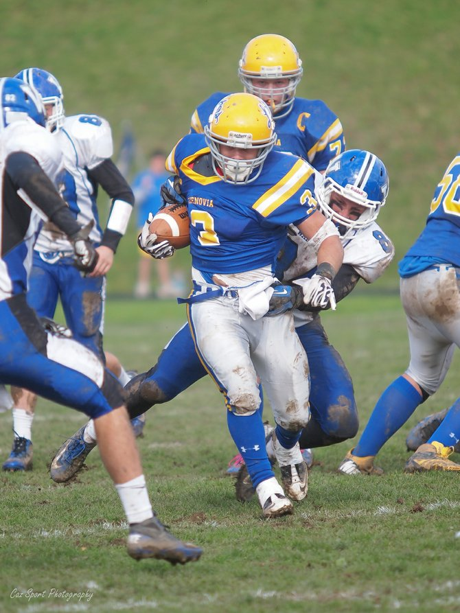 Jake Wilson breaks a tackle as he works the ball up the field during the Oct. 20 match against the Westhill Warriors at Buckley-Volo Field in Cazenovia. Wilson finished with two touchdowns, gaining 127 yards on 16 carries.