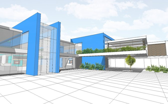 An artist's rendering of ESM's proposed new building front for Pine Grove Middle School.