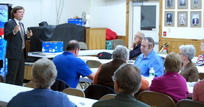 Tim Weidemann of Rondout Consulting led the final Keeseville dissolution meeting.