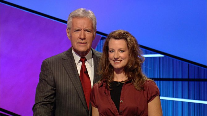 """Jeopardy"" host Alex Trebek poses with Sarah Williams, owner of Cafe Sarah in North Creek, who competed in the TV show that aired Oct. 25."