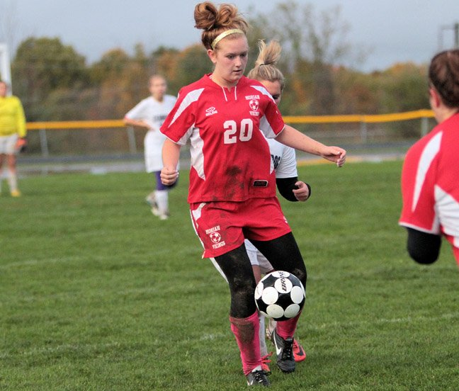 Caitlin Pelkey scored a goal as Moriah rolled past Minerva-Newcomb, 4-1, in the opening round of the Section VII Class D girls soccer tournament.