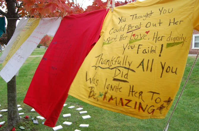 Peices of the Essex County STOP Domestic Voilence Task Force Clothesline Project were hung on the lines for the event on Oct. 16.
