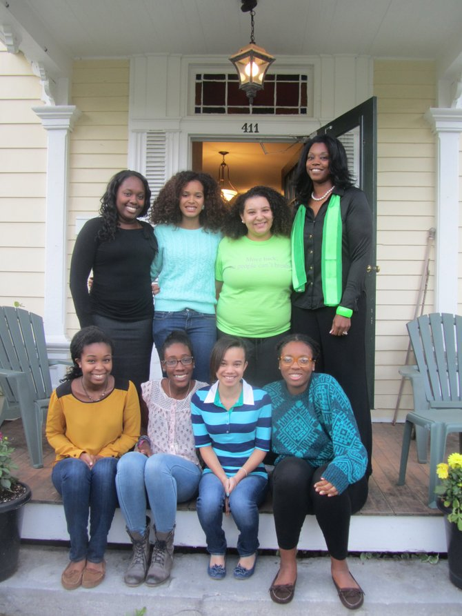 The girls of F-M's A Better Chance program pose with their new resident director, La Rae Martin-Coore (far right).