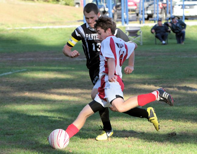 Justin Lough scored twice for Schroon Lake, but the Wildcats lost to Chazy, 13-2, in the Section VII Class D boys soccer tournament Nov. 1.