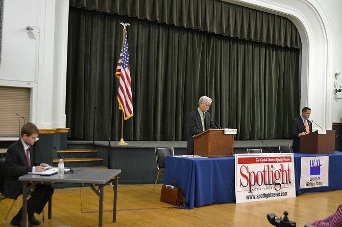 Town board candidates Jeremy Martelle and Bill Reinhardt answer questions at a forum held on Thursday, Nov.1.
